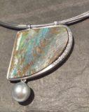 585 Weißgold mit Opal, Tahitiperle und Brillanten